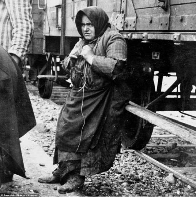 Babo Batren, an elderly Jewish woman from Tecso labour camp, leans against the train which brought her to Auschwitz. She is waiting to be taken to the gas chambers