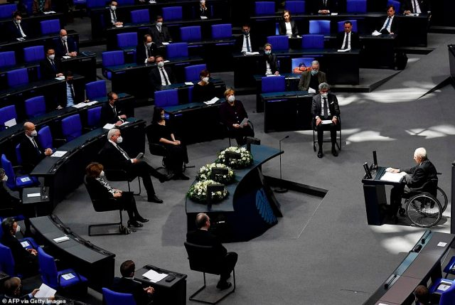 GERMANY: Chancellor Angela Merkel and president Frank-Walter Steinmeier were among the dignitaries at a special session of parliament in Berlin this morning to mark the anniversary