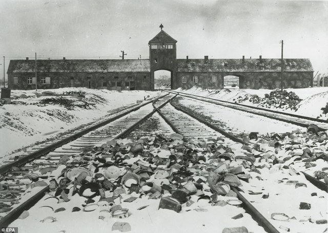 Auschwitz, pictured in 1945, was liberated by Soviet troops 76 years ago on Wednesday after around 1.1million people were murdered at the Nazi extermination camp