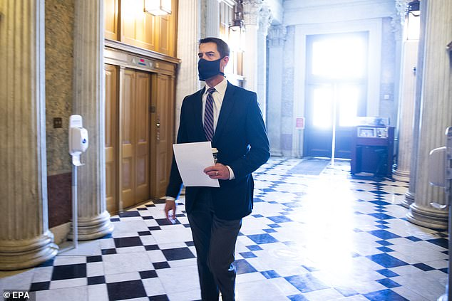 Republican Senator Tom Cotton, a retired Army Captain and member of the Intelligence Committee, said Wednesday there is 'no specific, credible threat' to justify the continued military presence in Washington D.C.