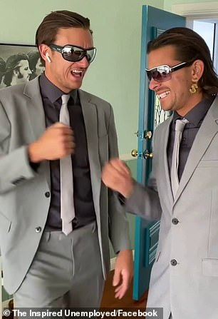 Comedy duo, Jack Steele (left), 27, and Matt Ford (right), 26, wore matching grey suits, sunglasses and Apple AirPods to play estate agents (left) who show a couple around a property