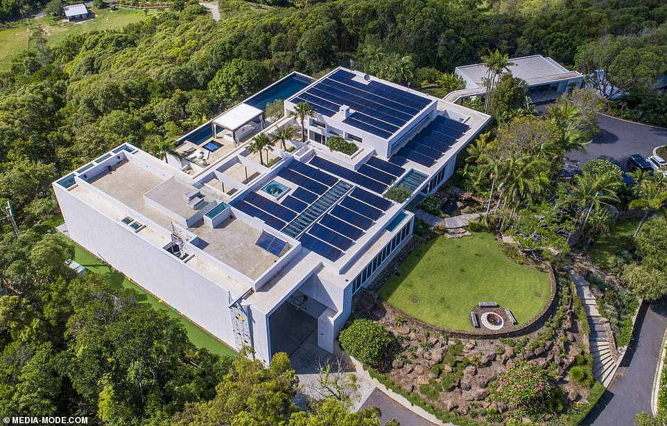 Flipping great: Chris Hemsworth and Elsa Pataky's mega mansion (pictured) is complete - and the luxurious, opulent home has skyrocketed in price since the family moved in