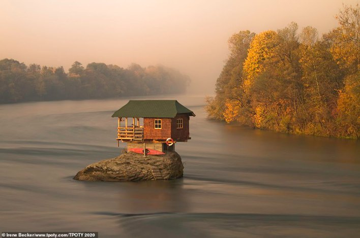 Hungarian snapper Irene Becker was handed a commended accolade for this picture of 'the River House' holiday home in the Drina River near Bajina Basta in Serbia