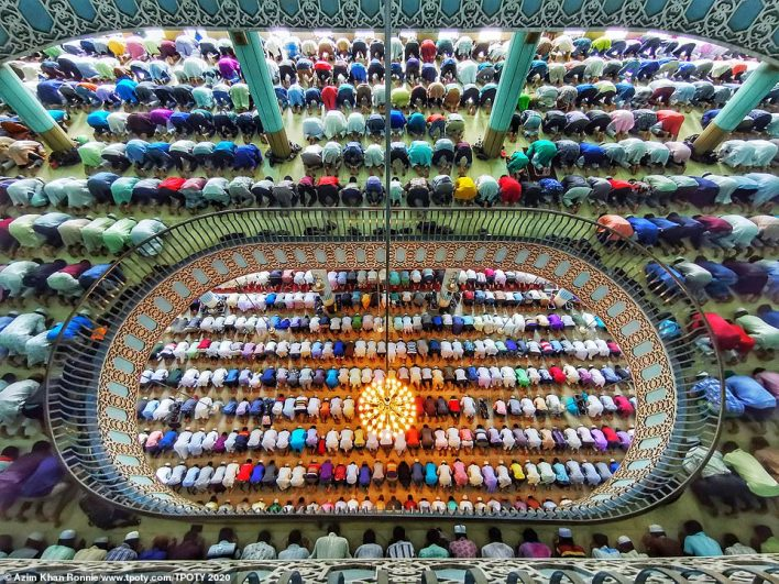 The competition's 'iTravelled - phone/tablet single image' category was won by Azim Khan Ronnie from Bangladesh with this incredible image, taken in his home country. It shows worshippers praying at one of the biggest mosques in the world in the capital, Dhaka - called Baitul Mukarram. At the time the picture was taken, around 40,000 people were visiting