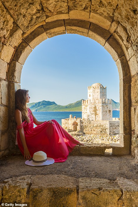 Greece has proposed that the EU introduces a 'vaccination passport' scheme but has ruled out a ban on those who haven't been inoculated against Covid-19. Pictured is the country's Methoni fortress