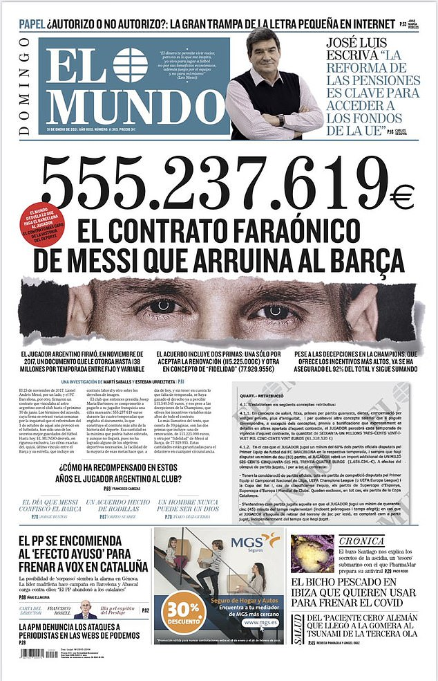 The figure was revealed by Spanish paper El Mundo, outlining Barcelona's financial woes
