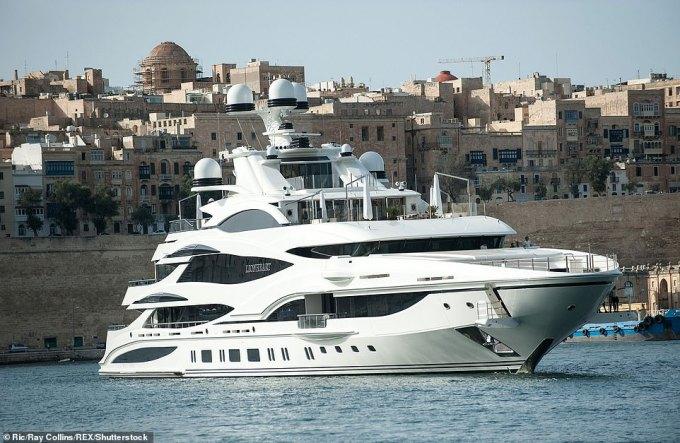 Sir Philip's £100million superyacht Lionheart is pictured in Valletta, Malta, in November 2017