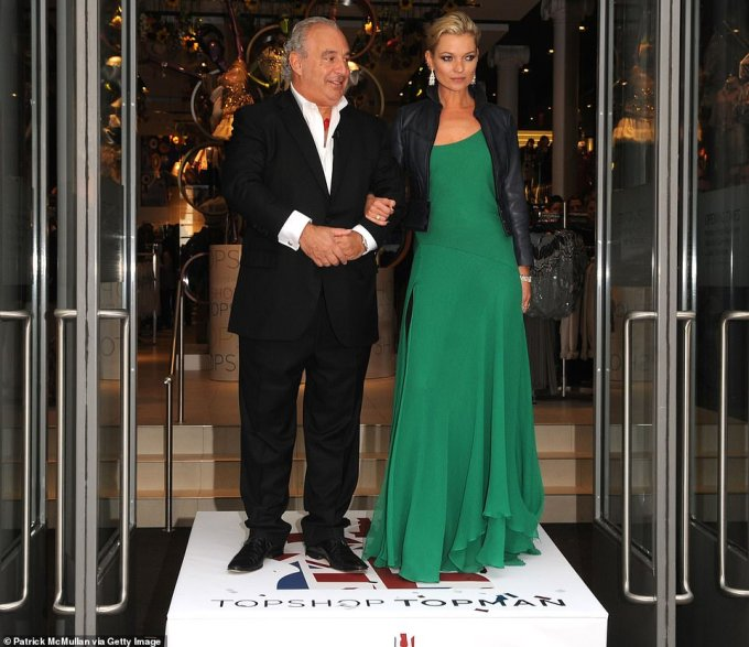 Sir Philip Green and Kate Moss attend the opening of a Topshop store in New York in 2009 at the height of its success when it was worth around £850million. Now the brand has been sold 'on the cheap' to ASOS for £330million including its piles of stock