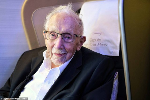 Captain Sir Tom Moore (pictured in his BA plane seat) and his family jetted off to Barbados after British Airways offered him free flight in December