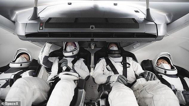 Members of the SpaceX Crew-2 mission - ESA (European Space Agency) astronaut Thomas Pesquet (left), NASA astronauts Megan McArthur and Shane Kimbrough (centre), and Japan Aerospace Exploration Agency (JAXA) astronaut Akihiko Hoshid (right) - in training