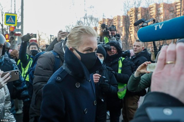 Yulia Navalnaya, 44, the wife of Russian opposition leader Alexei Navalny, walks into the Simonovsky District Court in Moscow on Tuesday morning