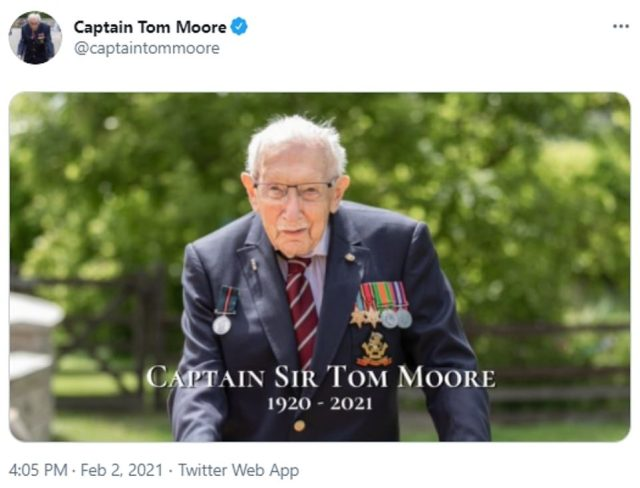 His family announced Captain Tom had died at 4.05pm today with this social media post celebrating his life from 1920 -2021