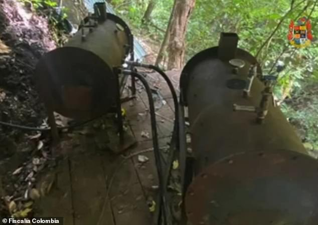 Picture is some of the machinery set up at one of the two labs operated by the National Liberation Army, a left-wing guerrilla group in Colombia. The secret labs reportedly produced $4 billion in cocaine that was shipped to Central America and then to Mexico, where the Sinaloa Cartel was responsible for its distribution