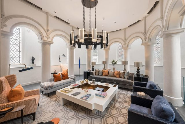The converted church is up for sale for £19.5million,plus a further £2 million or so if you throw in the art, furniture, rugs and assorted knick-knacks
