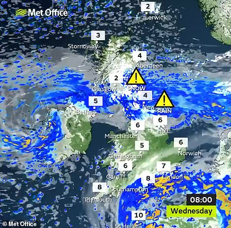 Snow and heavy rain are affecting parts of Britain today with Met Office warnings in place for the North and Scotland