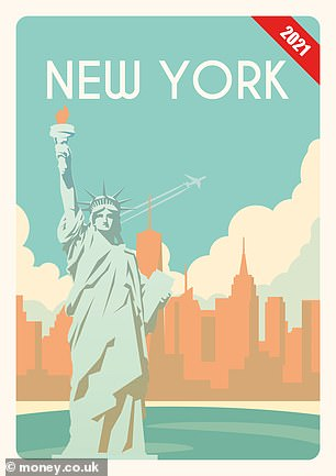"'In global cities such as London, Amsterdam, Buenos Aires, and New York, future visitors may have to take a ""Red London boat"" to see Big Ben, or go by canal boat to the Empire State building,' experts warned. The team imagined a travel poster for the New York of today (pictured) and of 2100 (right), in which the Statue of Liberty is submerged up to the waist beneath an exaggerated volume of water. In reality, sea levels are expected to rise by some 17–33 inches — enough, however, to result in an increased risk of flooding"