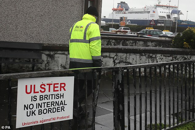 An anti-Brexit sign near the entrance to Larne Port in Northern Ireland