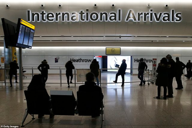 The border crackdown comes amid fears the South African variant is already loose in the UK, and other more potent mutant strains could lessen the effectiveness of the vaccine drive. PIctured, Heathrow Airport