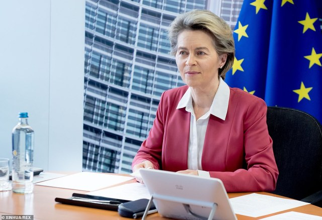 European Commission president Ursula von der Leyen, pictured in Brussels on Sunday, has come under pressure over the bloc's slow jab rollout
