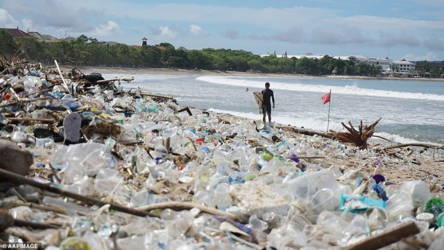 Locals are disappointed at what their beaches have become - the site of a rubbish tip (pictured) littered with plastic