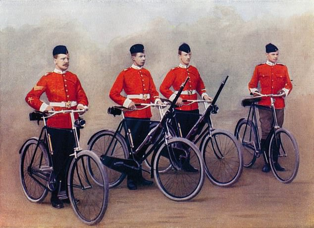 A 1900 print of the Lancashire Fusiliers cycling into the Boer War in South Africa