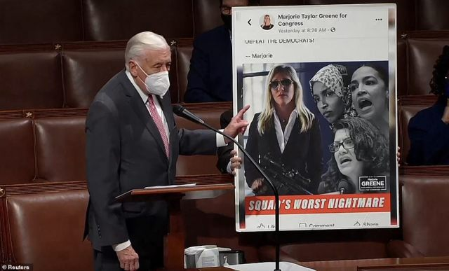 The tweet included an image of Green holding an AR-15 alongside images of progressive Representatives Alexandria Ocasio-Cortez, Ilhan Omar and Rashida Tlaib in black and white