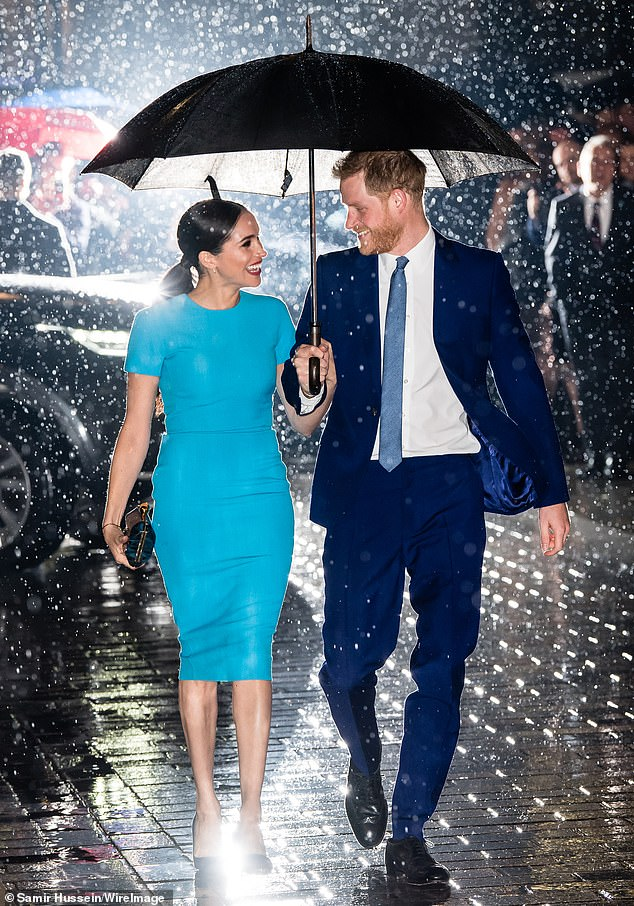 Prince Harry and Meghan pictured attending The Endeavour Fund Awards at Mansion House in March last year in London