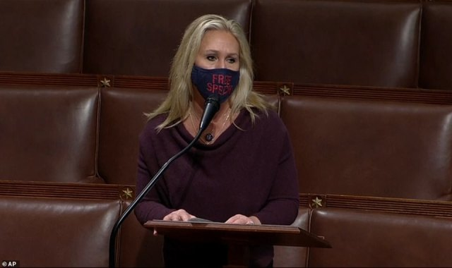 Reversal: 'I also want to tell you 9/11 absolutely happened. I remember that day crying all day long watching it on the news. It's a tragedy for anyone to say it didn't happen,' Greene told the House