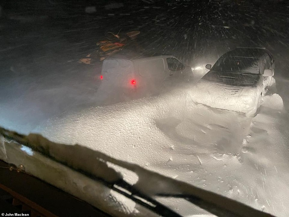 Macritchie Highland Distribution driver John Maclean took this photograph from his lorry cab while stuck on the A835 Ullapool Road between Ullapool and Garve, north west of Inverness, this morning as parts of Scotland faced heavy snow