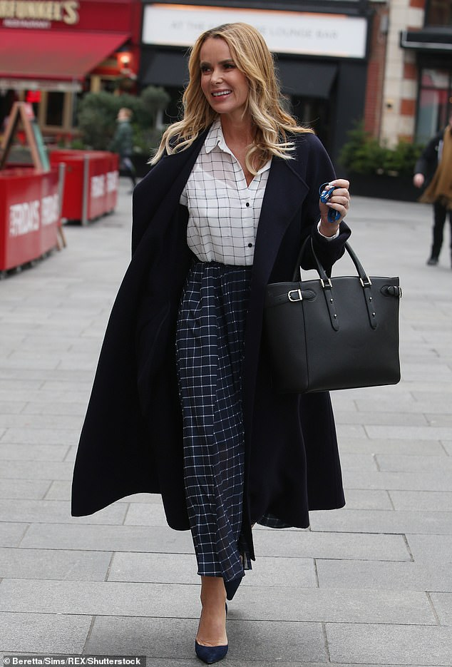 Star connection: Amanda Holden out and about in London last January wearing French Connection