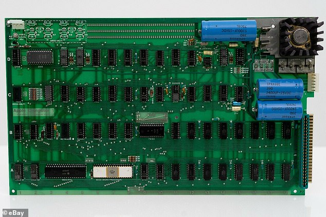 According to Mr Blake, the sale of this rare piece of computing history on the online auction site is 'truly a first for eBay.' Pictured: the internal circuitry of the Apple-1 computer