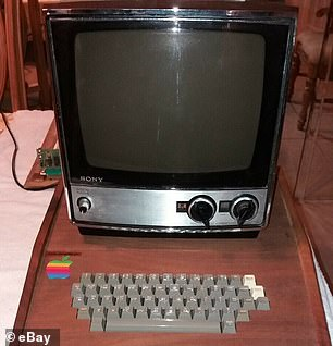 Also included in the sale is a period Sony TV-115 (pictured), which was the monitor model originally recommended by Mr Jobs to use to display the computer's output