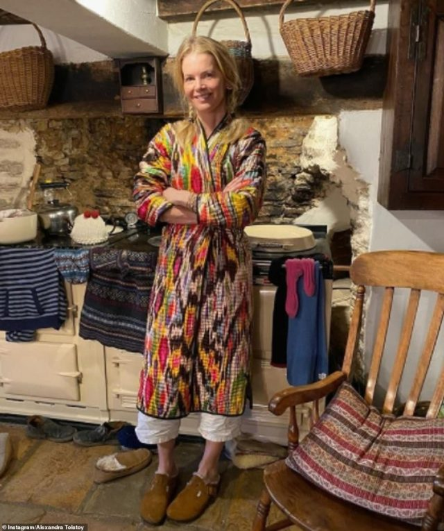 Casual in the country! Countess Alexandra Tolstoy has offered a glimpse inside the cosy Oxfordshire cottage where she is spending lockdown with her three children. Her ex is Russian billionaire Sergei Pugachev, 57, who is living in exile