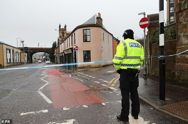 The scene on Portland Street in Kilmarnock, Ayrshire, where 24-year-old Nicole was stabbed and later died in hospital