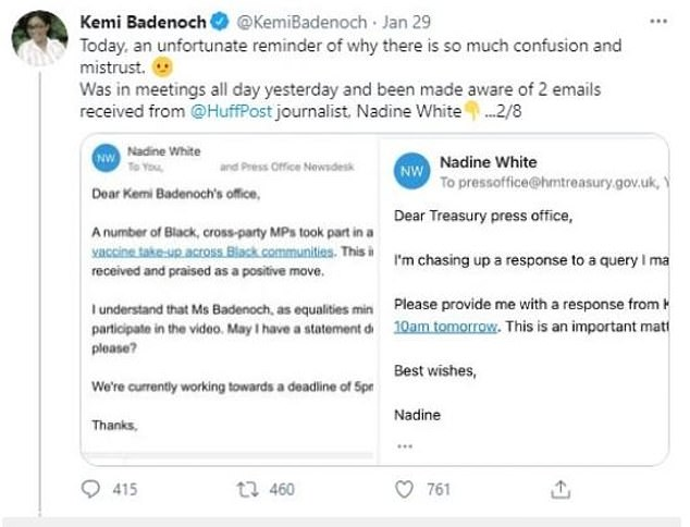 Mr Kasumu, who has been a contributor for the Huffpost, is said to have suggested Ms Badenoch may have broken the ministerial code - which the BBC said the Cabinet Office was looking into. No 10 denied this