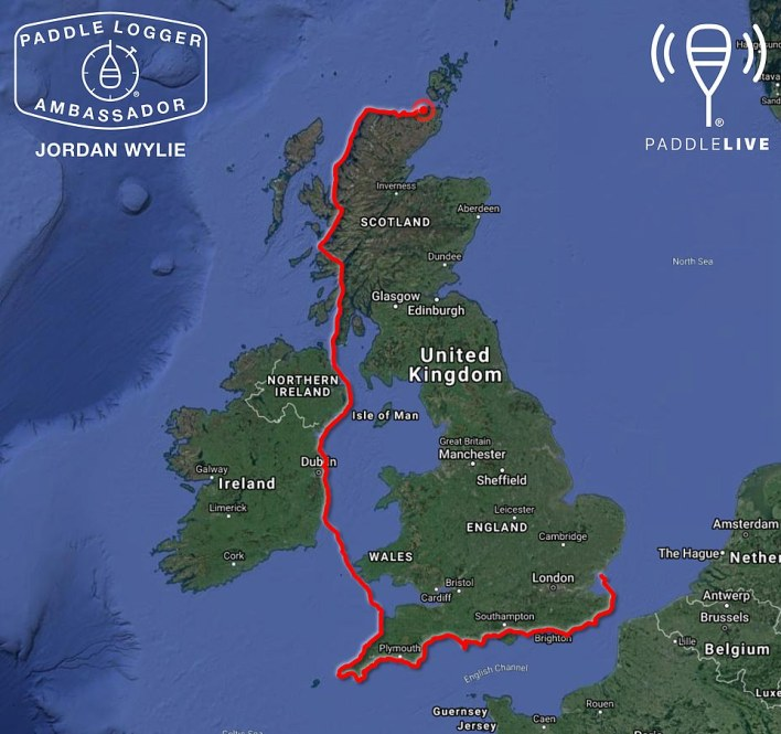A map showing Jordan's epic voyage, from Wallasea Island in Essex to the North Coast of Scotland