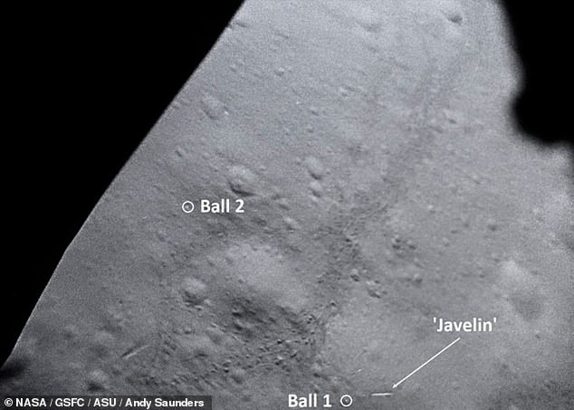 The newly-enhanced images will be among those included in Andy Saunders' upcoming book, 'Apollo Remastered'. Pictured, remastered footage from theLunar Module showing the location of the two golf balls and the makeshift javelin, fashioned from a lunar scoop handle