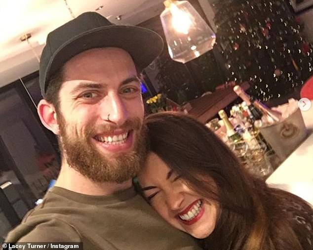 Much to celebrate: Lacey revealed early last month that she had given birth to her 'miracle' second child, a baby boy, with husband Matt Kay