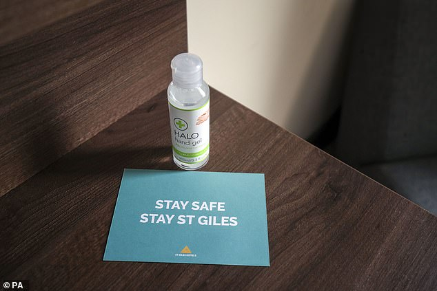 Safety precautions such as hand sanitiser is laid out in the three-star ready for guests