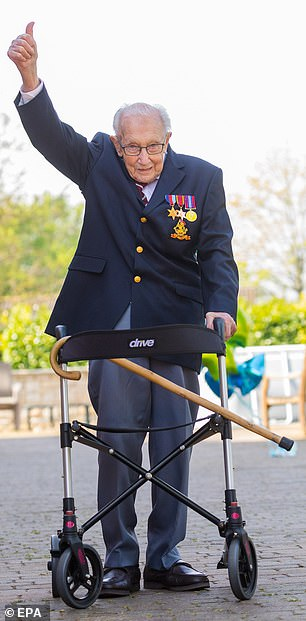 But the war veteran not only walked into the record books but also became a national inspiration, a symbol of hope in the dark days of the pandemic
