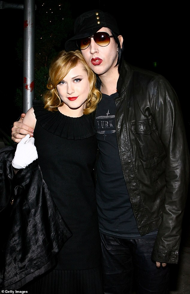 Wood and Manson pictured together in 2007 around the time they started dating