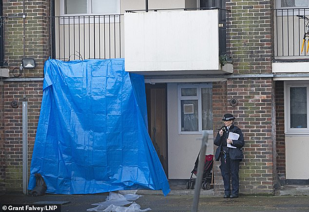 A cordon is in place near a flat inWisbeach Road after a man was killed in Croydon