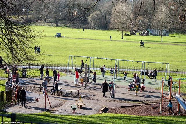 A busy Greville Smyth Park in Bristol today as people head out to get the last of the sun before colder weather arrives
