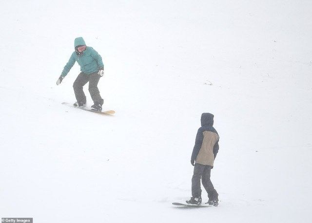 Snowboarders at Glenshee in Scotland as yet more snow is due in the region over the next few days