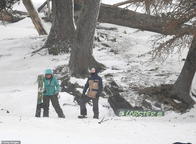 People wrapped up in their winter clothes to take their snowboards out on the Scottish slopes amid a snowy day
