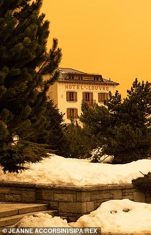 Orange hue seen in the Chamonix Valley, France