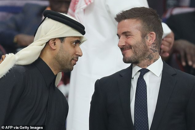 David Beckham with Nasser-Al Khelaifi at a game in Qatar in 2019.  But Beckham, who in 2007 announced he was ¿very honoured to have the tag of gay icon¿, risks condemnation for cutting a deal with a country where homosexuality is illegal