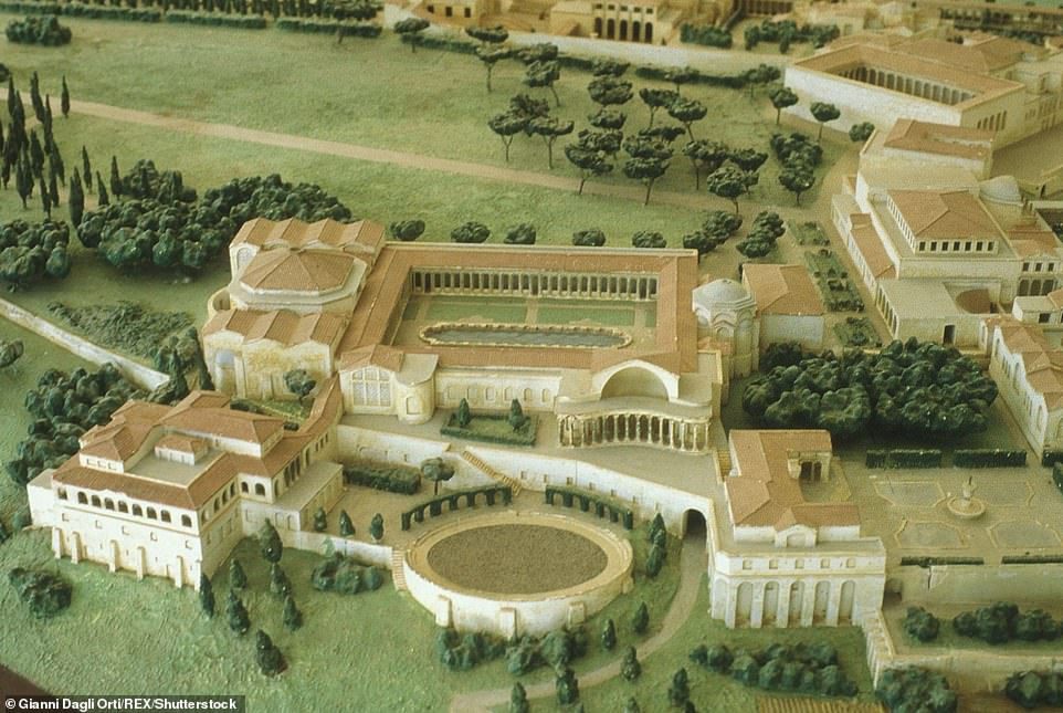 Pictured: an artist's model reconstruction of part of Hadrian's villa, showing the so-called Golden square