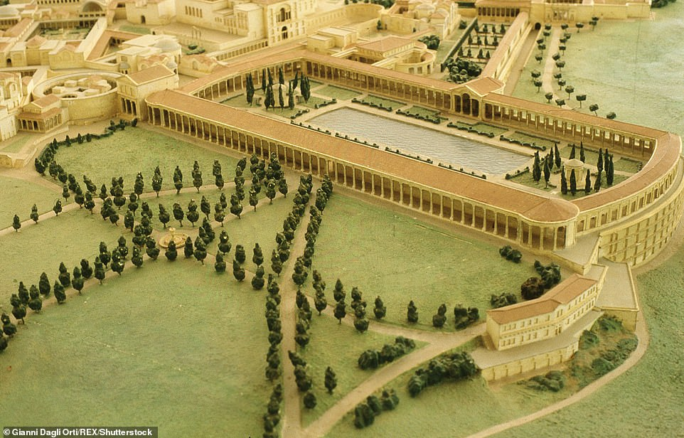 Pictured: an artist's model reconstruction of part of Hadrian's villa. The building with the central pool is the Poecile — the Praetorian fort — while to its left can be seen the entrance and rooves of the Maritime Theatre