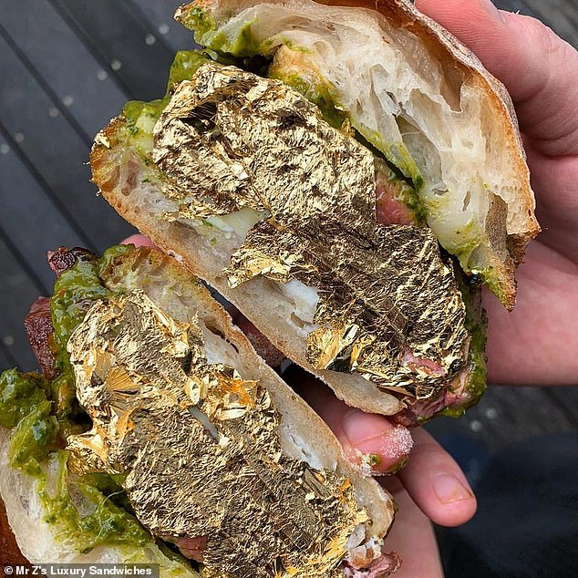 Andrea Zagatti, 28, has opened a high-end sandwich joint, Mr Z's Luxury Sandwiches, with most expensive snack on the menu being a gold-encrusted sandwich costing £50 (above)